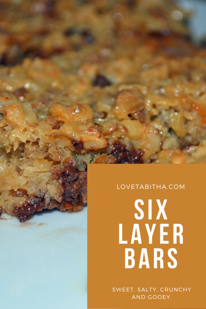 Recipe for Six Layer Bars - sweet, salty, crunchy and gooey.