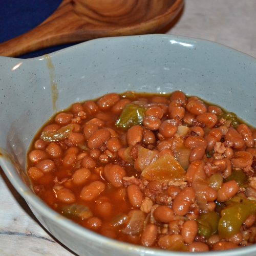 Recipe for the best baked beans! Made in the slow cooker.